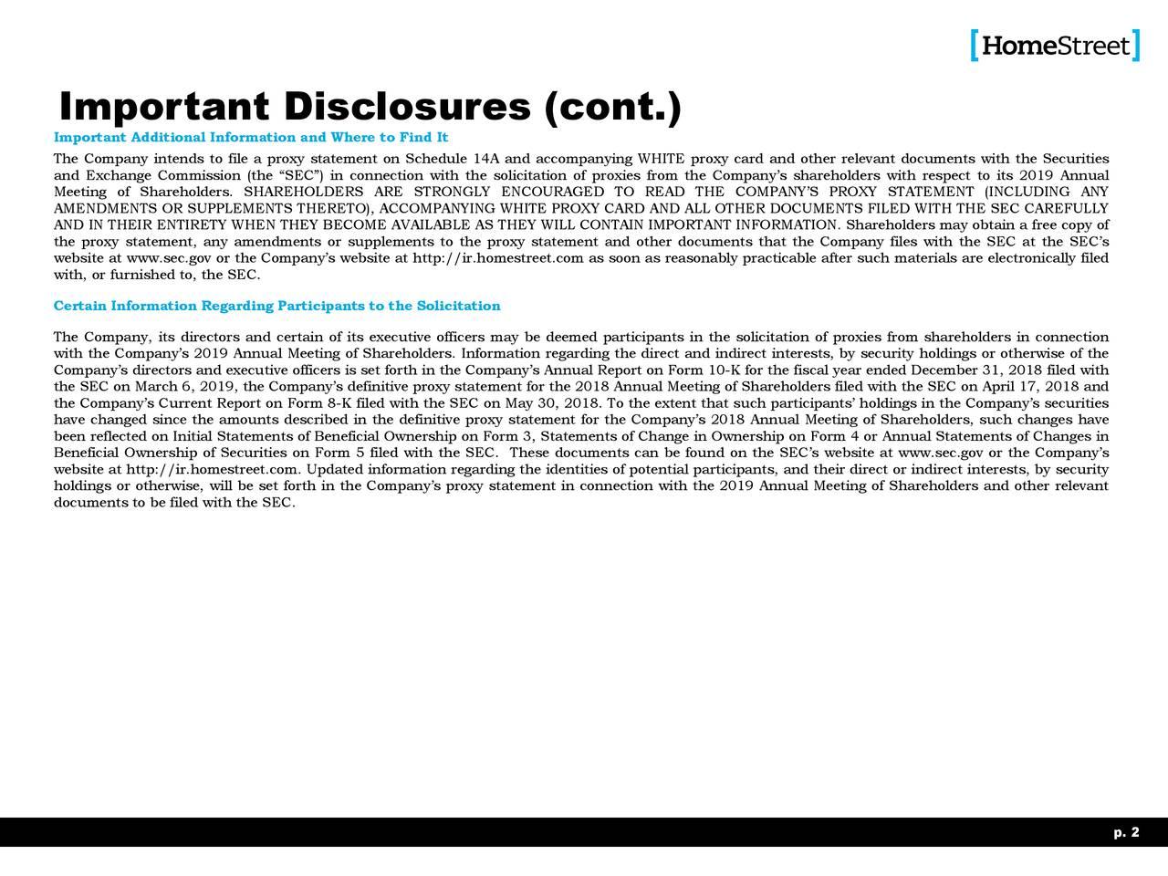 Important Disclosures (cont.)