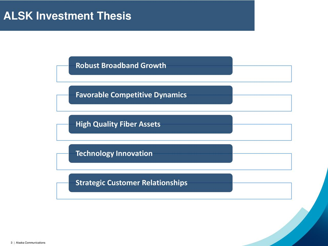 Robust Broadband Growth Favorable Competitive Dynamics High Quality Fiber Assets Technology Innovation Strategic Customer Relationships