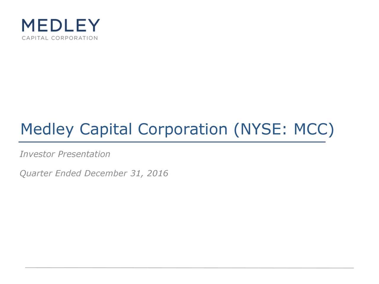 Investor Presentation Quarter Ended December 31, 2016