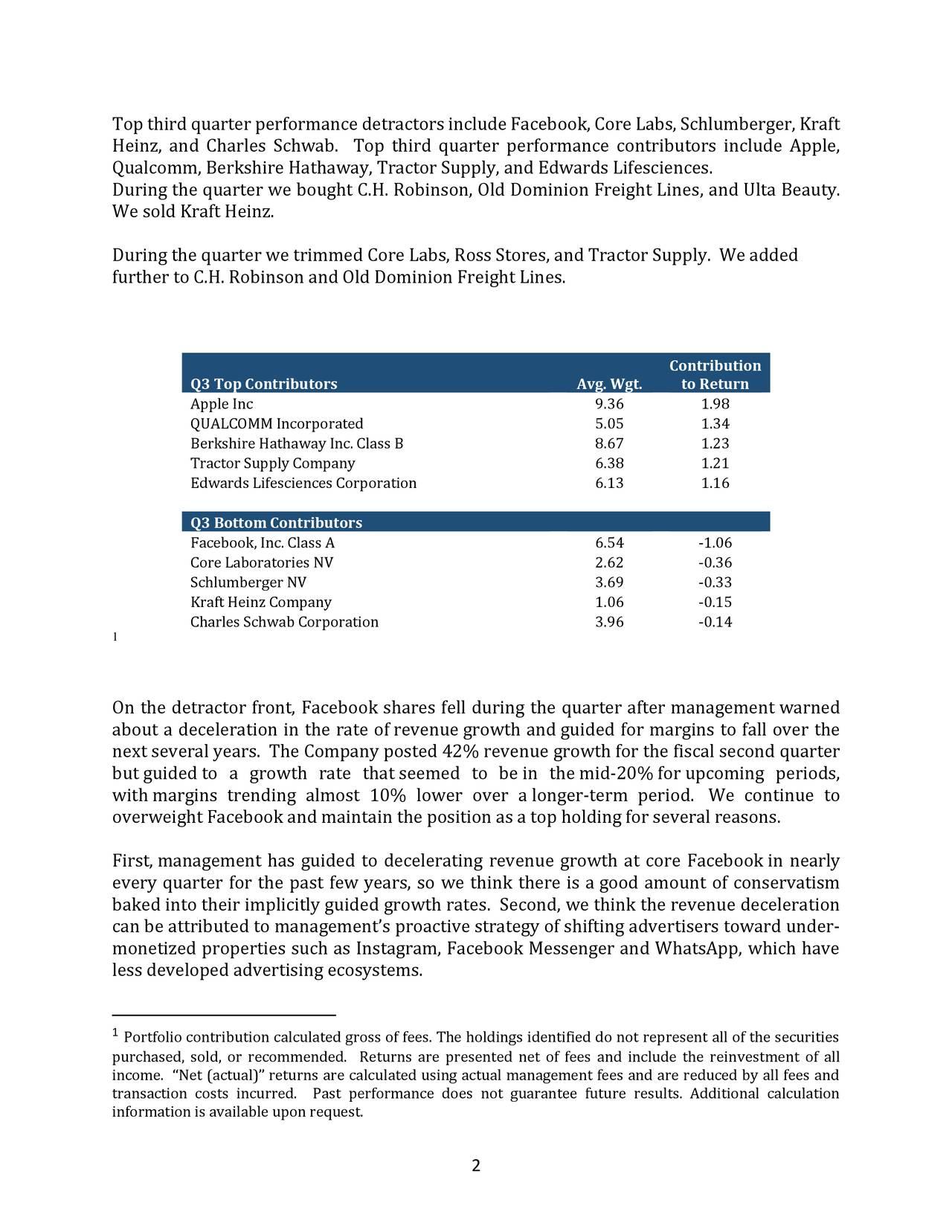 Top thirdquarterperformance detractorsinclude Facebook, Core Labs,Schlumberger, Kraft