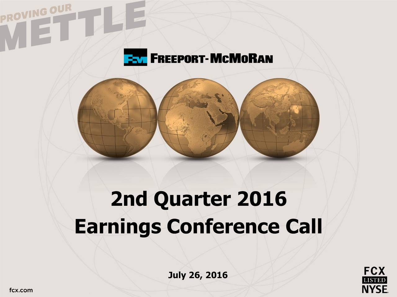 Earnings Conference Call July 26, 2016