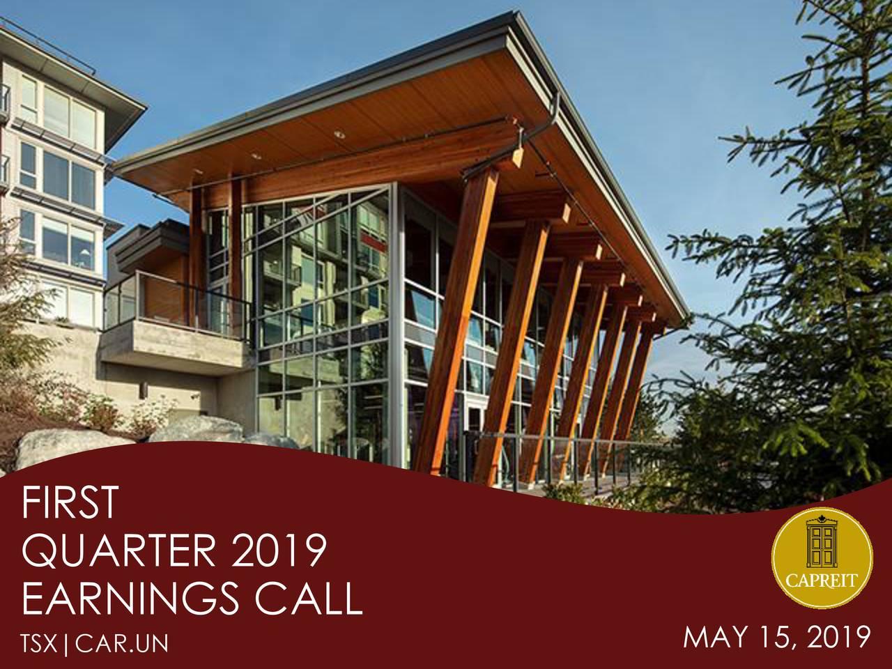 QUARTER 2019 EARNINGS CALL MAY 15, 2019