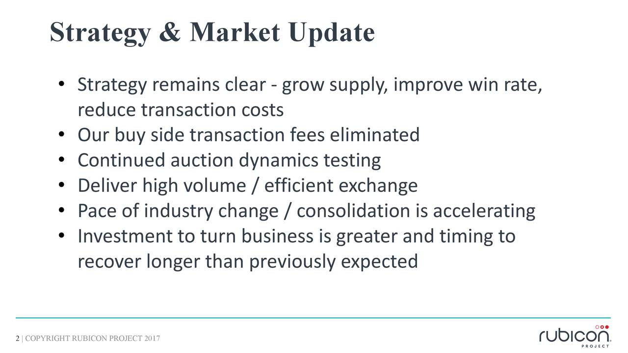 • Strategy remains clear - grow supply, improve win rate, reduce transaction costs • Our buy side transaction fees eliminated • Continued auction dynamics testing • Deliver high volume / efficient exchange • Pace of industry change / consolidation is accelerating • Investment to turn business is greater and timing to recover longer than previously expected 2 | COPYRIGHT RUBICON PROJECT 2017
