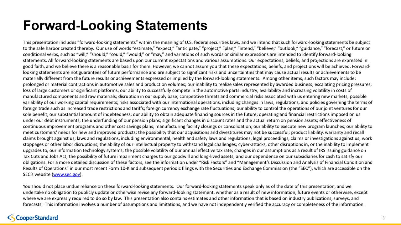 """This presentation includes """"forward-looking statements"""" within the meaning of U.S. federal securities laws, and we intend that such forward-looking statements be subject to the safe harbor created thereby. Our use of words """"estimate,"""" """"expect,"""" """"anticipate,"""" """"project,"""" """"plan,"""" """"intend,"""" """"believe,"""" """"outlook,"""" """"guidance,"""" """"forecast,"""" or future or conditional verbs, such as """"will,"""" """"should,"""" """"could,"""" """"would,"""" or """"may,"""" and variations of such words or similar expressions areintended to identify forward-looking statements. All forward-looking statements are based upon our current expectations and various assumptions. Our expectations, beliefs, and projections are expressed in good faith, and we believe there is a reasonable basis for them. However, we cannot assure you that these expectations, belie fs, and projections will be achieved. Forward- looking statements are not guarantees of future performance and are subject to significant risks and uncertainties that may cause actual results or achievements to be materially different from the future results or achievements expressed or implied by the forward-lookingstatements. Among other items, such factors may include: prolonged or material contractions in automotive sales and production volumes; our inability to realize sales represented by awarded business; escalating pricing pressures; loss of large customers or significant platforms; our abilityto successfully compete in the automotive parts industry;availability and increasing volatility in costs of manufactured components and raw materials; disruption in our supply base; competitive threats and commercial risks associatedwith us entering new markets; possible variability of our working capital requirements; risks associated with our international operations, including changes s, regulations, and policies governing the terms of foreign trade such as increased trade restrictions and tariffs; foreign currency exchange rate fluctuations; our ability to control the operat"""
