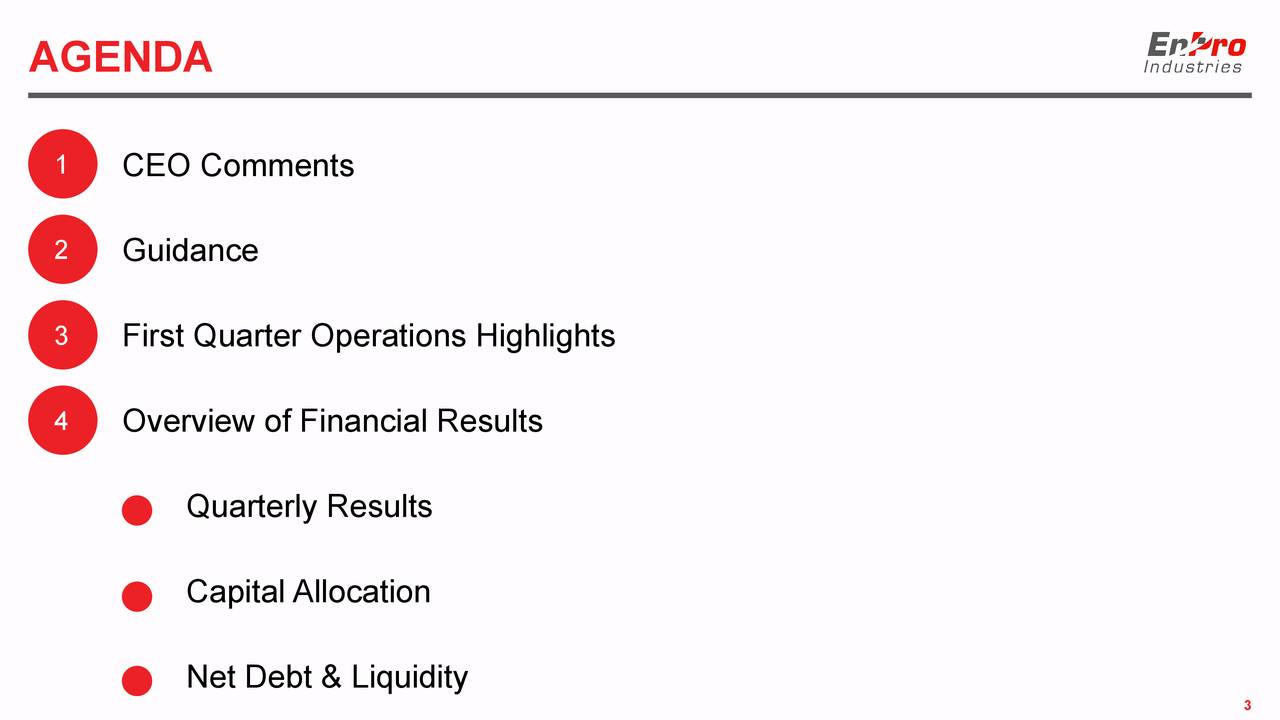 1 CEO Comments 2 Guidance 3 First Quarter Operations Highlights 4 Overview of Financial Results Quarterly Results Capital Allocation Net Debt & Liquidity