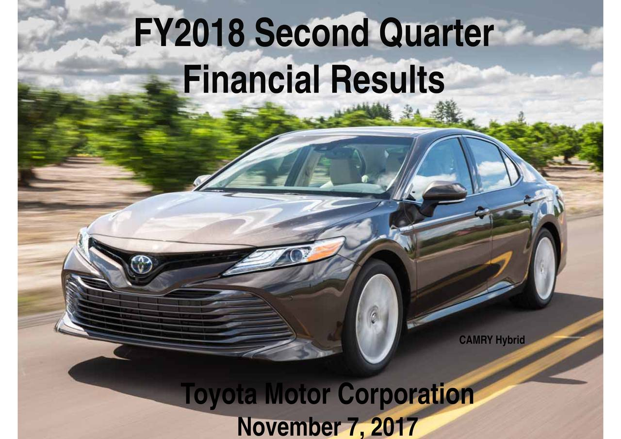 Toyota Motor Corporation 2018 Q2 Results Earnings Call
