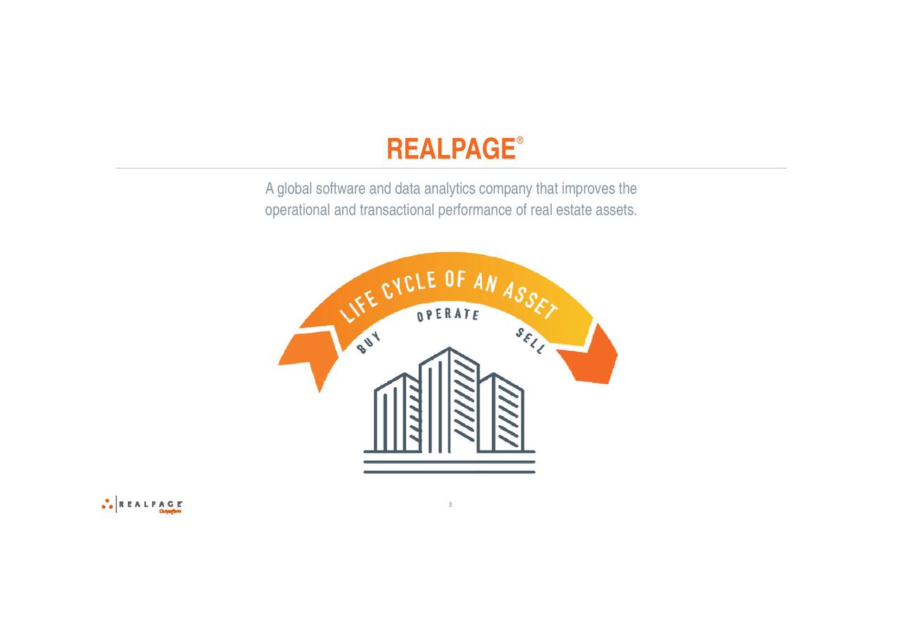 ance of real estate assets. 3 REALPAGE Agloperational and transactional performany that improves the