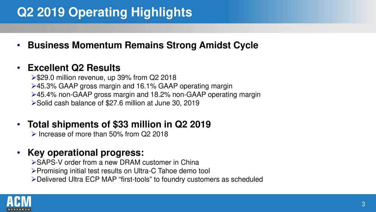 Q2 2019 Operating Highlights