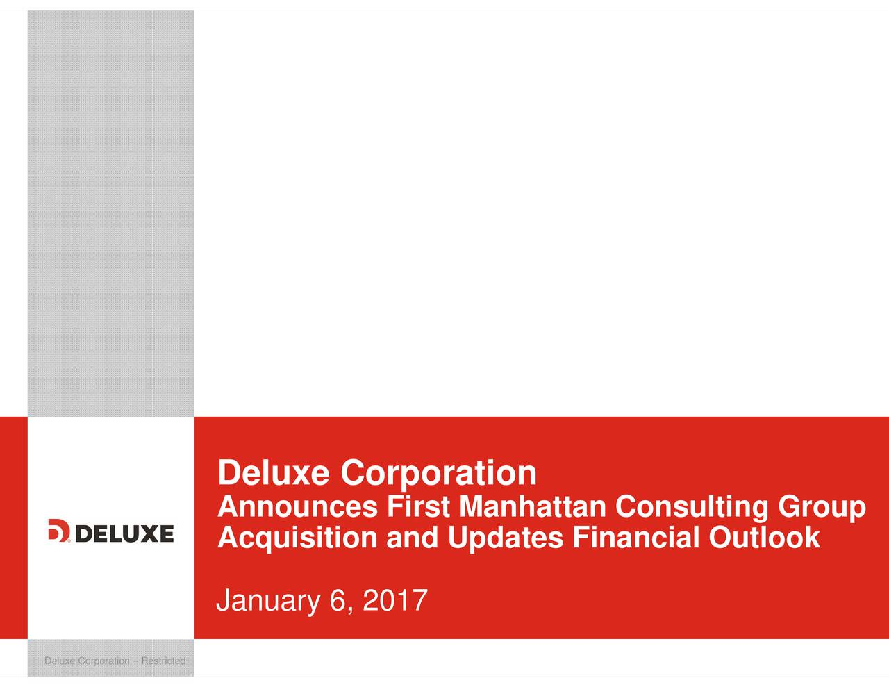 Deluxe (DLX) Acquires First Manhattan Consulting Group - M&A Call ...
