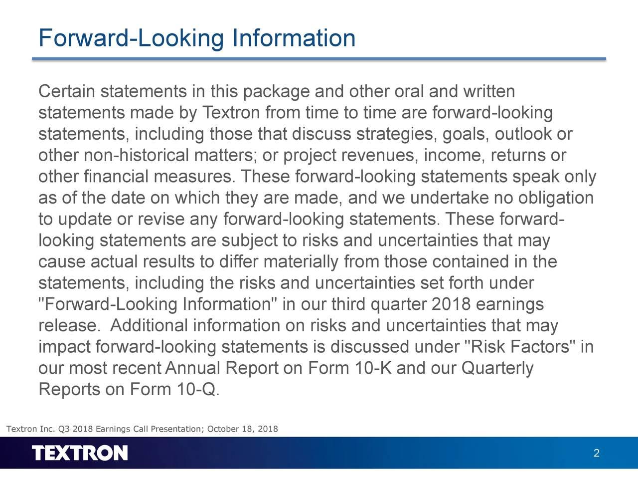 Forward-Looking Information