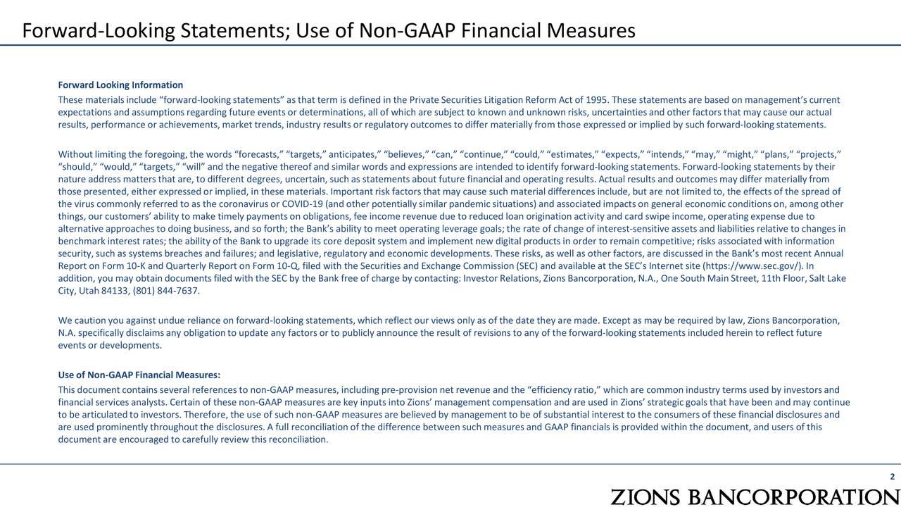 Declaraciones a futuro; Uso de medidas financieras no GAAP