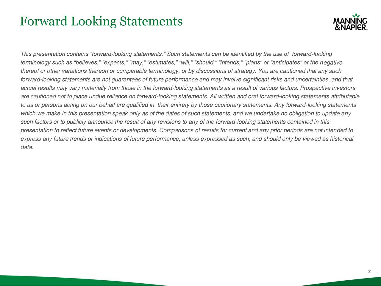 """This presentation contains """"forward-looking statements."""" Such statements can be identified by the use of forward-looking terminology such as """"believes,"""" """"expects,"""" """"may,"""" """"estimates,"""" """"will,"""" """"should,"""" """"intends,"""" """"plans"""" or """"anticipates"""" or the negative thereof or other variations thereon or comparable terminology, or by discussions of strategy. You are cautioned that any such forward-looking statements are not guarantees of future performance and may involve significant risks and uncertainties, and that actual results may vary materially from those in the forward-looking statements as a result of various factors. Prospective investors are cautioned not to place undue reliance on forward-looking statements. All written and oral forward-looking statements attributable to us or persons acting on our behalf are qualified in their entirety by those cautionary statements. Any forward-looking statements which we make in this presentation speak only as of the dates of such statements, and we undertake no obligation to update any such factors or to publicly announce the result of any revisions to any of the forward-looking statements contained in this presentation to reflect future events or developments. Comparisons of results for current and any prior periods are not intended to express any future trends or indications of future performance, unless expressed as such, and should only be viewed as historical data. 2"""