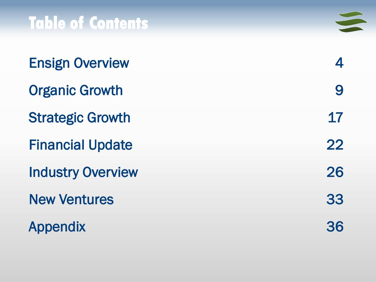Ensign Overview 4 Organic Growth 9 Strategic Growth 17 Financial Update 22 Industry Overview 26 New Ventures 33 Appendix 36
