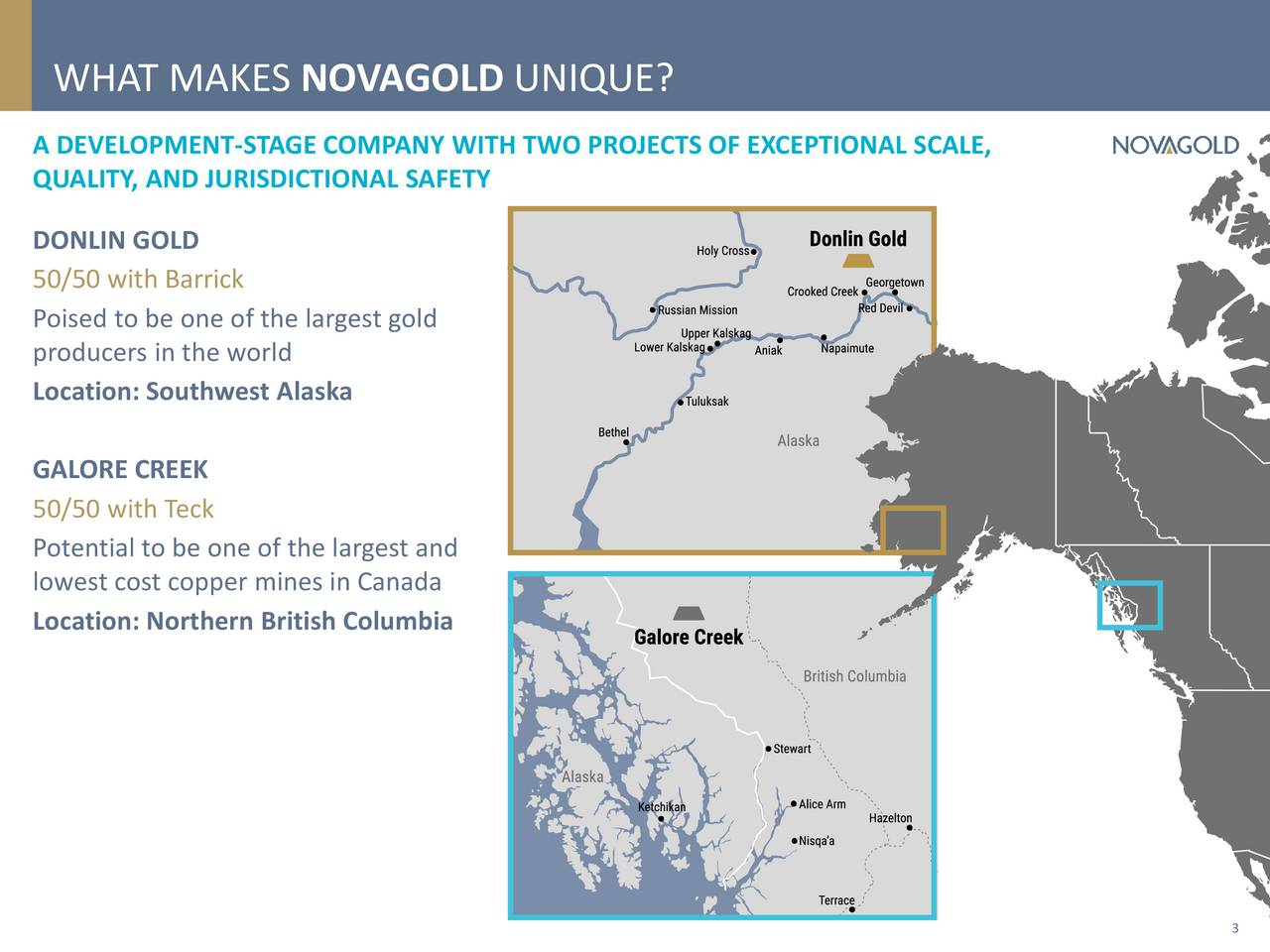 A DEVELOPMENT-STAGE COMPANY WITH TWO PROJECTS OF EXCEPTIONAL SCALE, QUALITY, AND JURISDICTIONAL SAFETY DONLIN GOLD 50/50 with Barrick Poised to be one of the largest gold producers in the world Location: Southwest Alaska GALORE CREEK 50/50 with Teck Potential to be one of the largest and lowest cost copper mines in Canada Location: Northern British Columbia 3