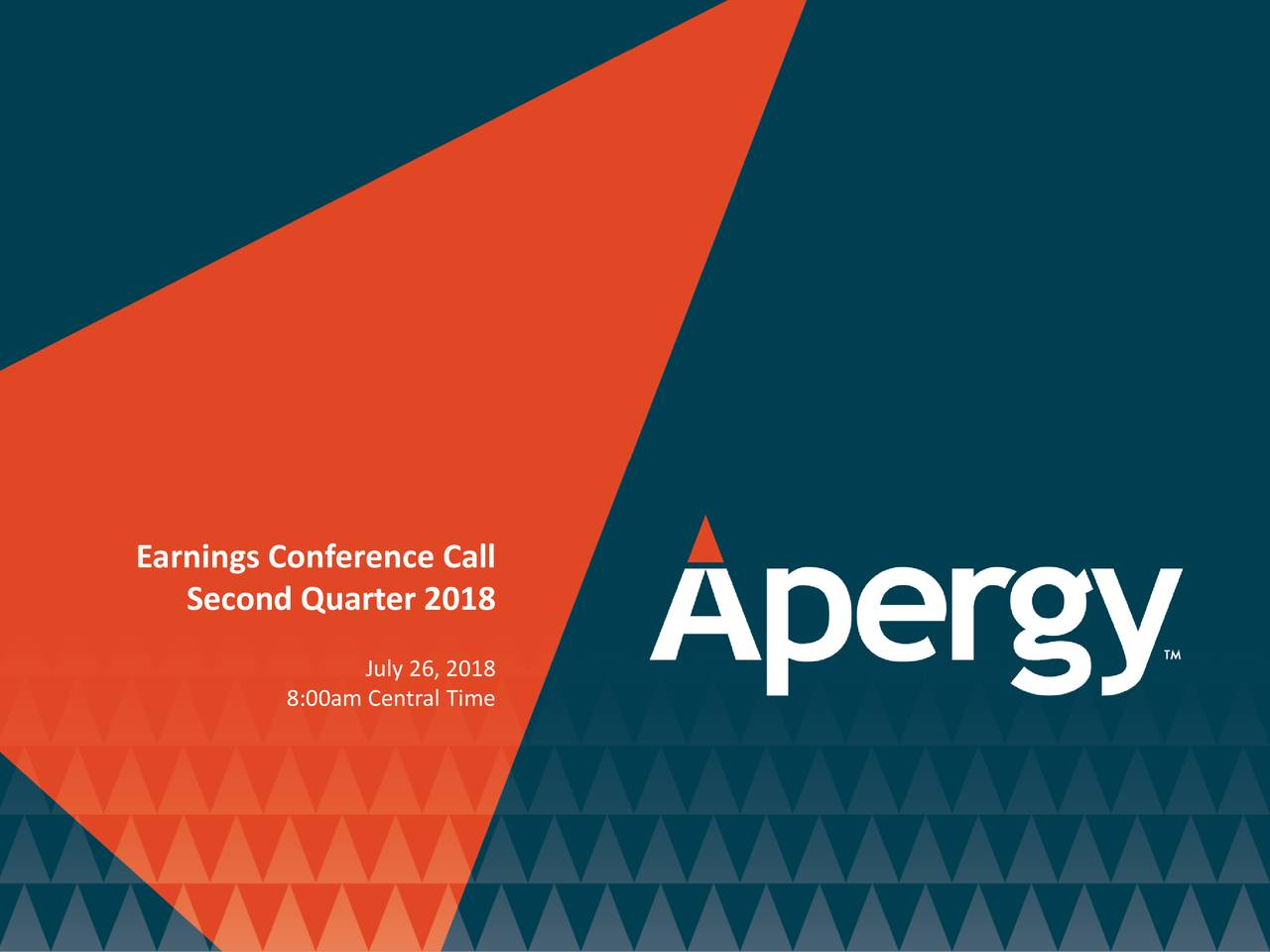 Earnings Disclaimer >> Apergy Corp 2018 Q2 - Results - Earnings Call Slides ...