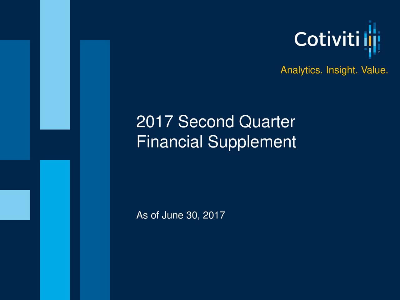 Analytics. Insight. Value. 125.206.241 2017 Second Quarter Financial Supplement 150.150.150 As of June 30, 2017 1