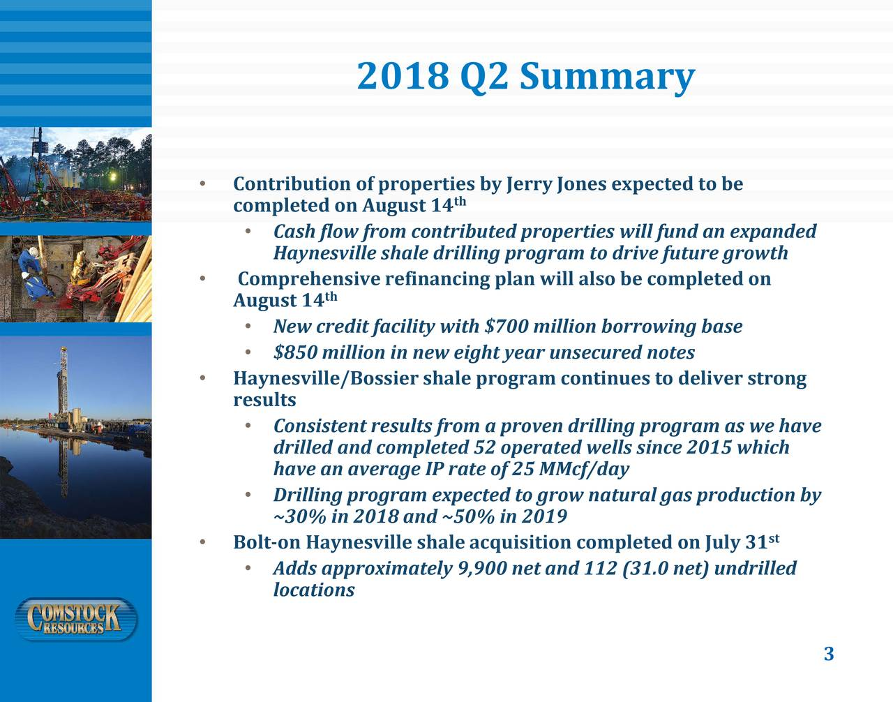 • Contribution of properties by Jerry Jones expected to be th completed on August 14 • Cash flow from contributed properties willfund an expanded Haynesville shale drilling program to drive future growth • Comprehensiverefinancing plan will also be completed on August 14 th • New credit facility with $700 million borrowing base • $850 million in new eight year unsecured notes • Haynesville/Bossier shale program continues to deliver strong results • Consistent results from a proven drilling program as we have drilled and completed 52 operated wells since 2015 which have an average IP rate of 25 MMcf/day • Drilling program expected to grow natural gas production by ~30% in 2018 and ~50% in 2019 • Bolt-on Haynesville shale acquisition completed on July 31 st • Adds approximately 9,900 net and 112 (31.0 net)undrilled locations 3