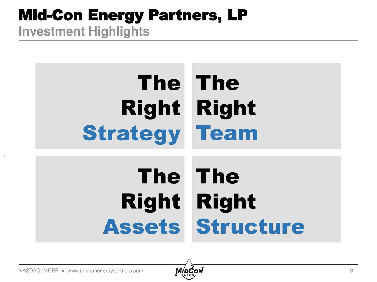 Investment Highlights The The Right Right Strategy Team The The Right Right Assets Structure NASDAQ: MCEP  www.midconenergypartners.com