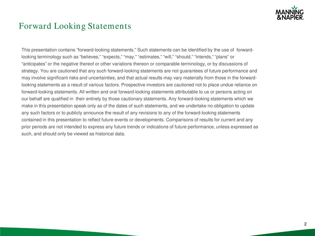 This presentation contains forward-looking statements. Such statements can be identified by the use of forward- looking terminology such as believes, expects, may, estimates, will, should, intends, plans or anticipates or the negative thereof or other variations thereon or comparable terminology, or by discussions of strategy. You are cautioned that any such forward-looking statements are not guarantees of future performance and may involve significant risks and uncertainties, and that actual results may vary materially from those in the forward- looking statements as a result of various factors. Prospective investors are cautioned not to place undue reliance on forward-looking statements. All written and oral forward-looking statements attributable to us or persons acting on our behalf are qualified in their entirety by those cautionary statements. Any forward-looking statements which we make in this presentation speak only as of the dates of such statements, and we undertake no obligation to update any such factors or to publicly announce the result of any revisions to any of the forward-looking statements contained in this presentation to reflect future events or developments. Comparisons of results for current and any prior periods are not intended to express any future trends or indications of future performance, unless expressed as such, and should only be viewed as historical data. 2