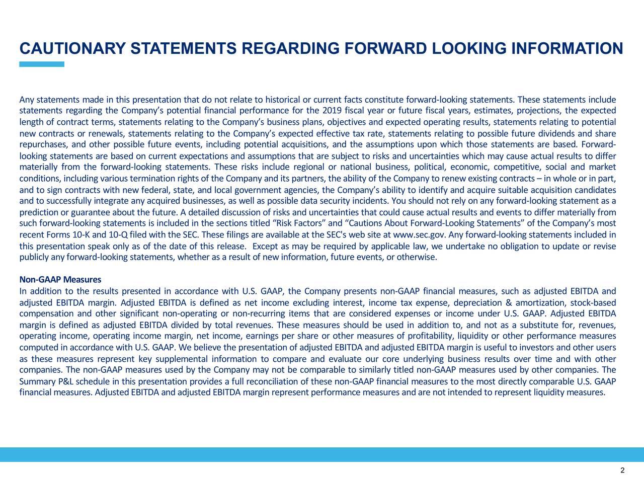 CAUTIONARY STATEMENTS REGARDING FORWARD LOOKING INFORMATION