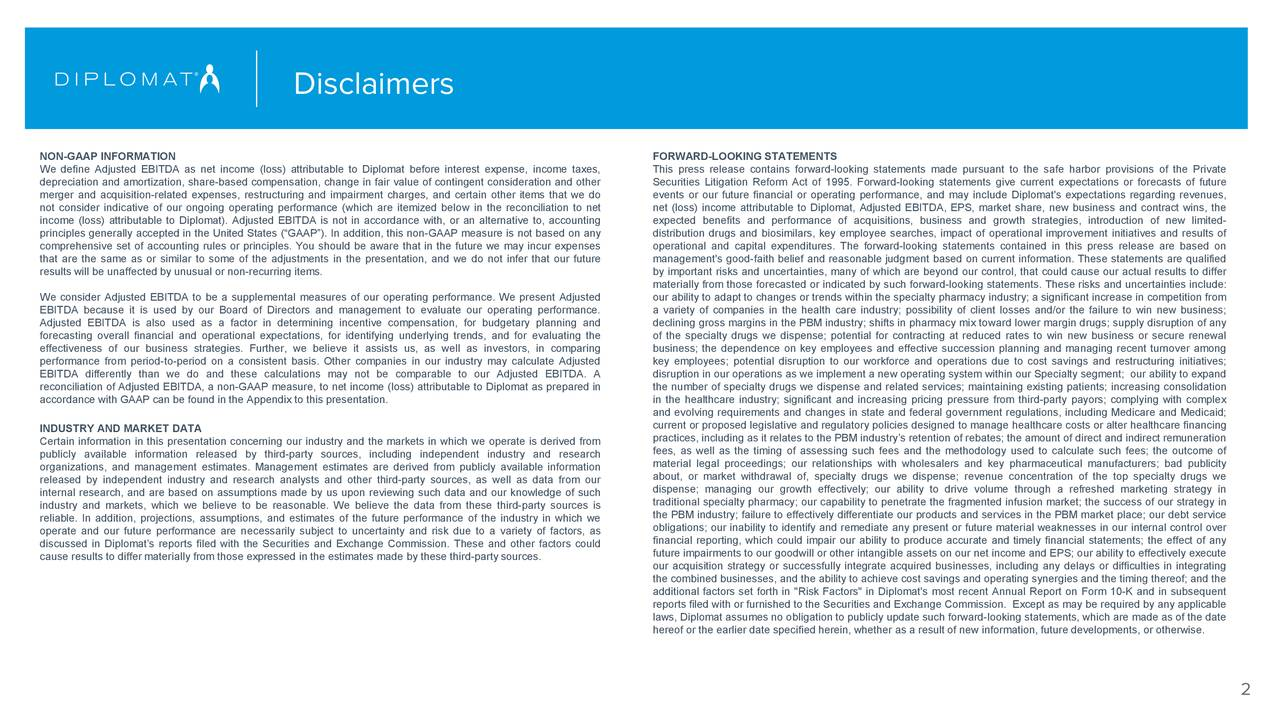 """NON-GAAP INFORMATION FORWARD-LOOKING STATEMENTS We define Adjusted EBITDA as net income (loss) attributable to Diplomat before interest expense, income taxes, This press release contains forward-looking statements made pursuant to the safe harbor provisions of the Private depreciation and amortization, share-based compensation, change in fair value of contingent consideration and other Securities Litigation Reform Act of 1995. Forward-looking statements give current expectations or forecasts of future merger and acquisition-related expenses, restructuring and impairment charges, and certain other items that we do events or our future financial or operating performance, and may include Diplomat's expectations regarding revenues, not consider indicative of our ongoing operating performance (which are itemized below in the reconciliation to net net (loss) income attributable to Diplomat, Adjusted EBITDA, EPS, market share, new business and contract wins, the income (loss) attributable to Diplomat). Adjusted EBITDA is not in accordance with, or an alternative to, accounting expected benefits and performance of acquisitions, business and growth strategies, introduction of new limited- principles generally accepted in the United States (""""GAAP""""). In addition, this non-GAAP measure is not based on any distribution drugs and biosimilars, key employee searches, impact of operational improvement initiatives and results of comprehensive set of accounting rules or principles. You should be aware that in the future we may incur expenses operational and capital expenditures. The forward-looking statements contained in this press release are based on that are the same as or similar to some of the adjustments in the presentation, and we do not infer that our future management's good-faith belief and reasonable judgment based on current information. These statements are qualified results will be unaffected by unusual or non-recurring items. by important risks and uncertainties, many """