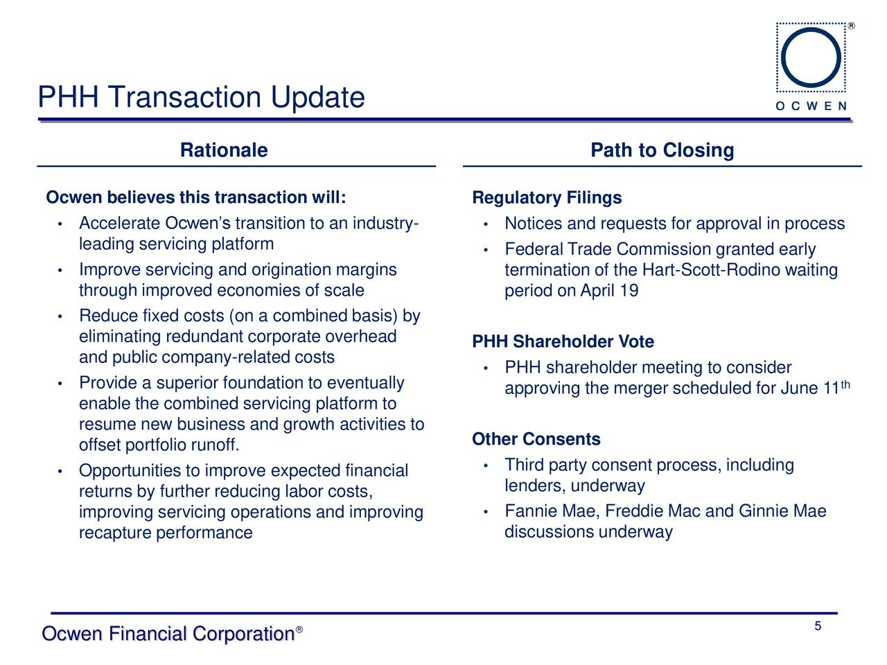 Ocwen Financial Corporation 2018 Q1 - Results - Earnings