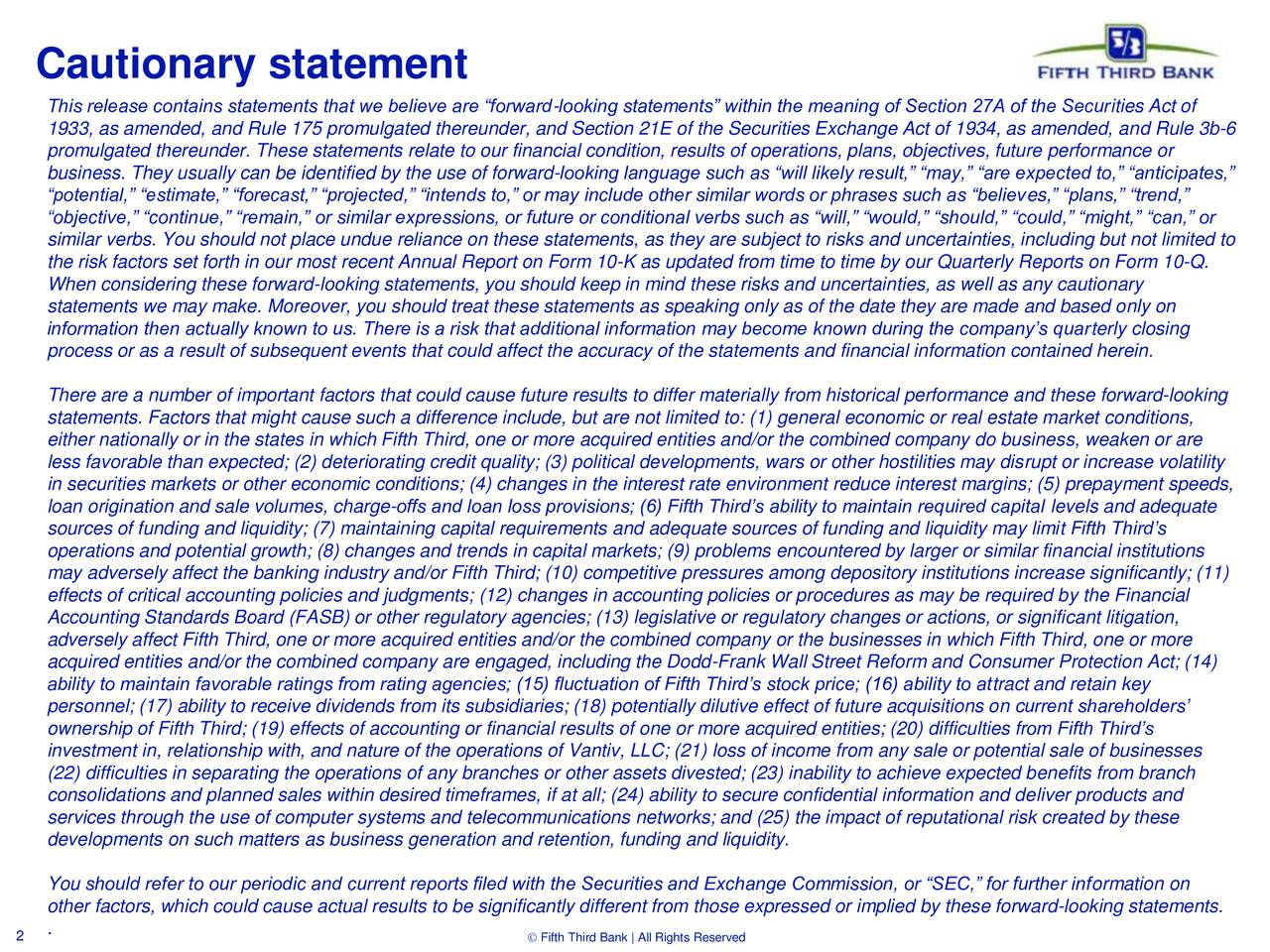 This release contains statements that we believe are forward-looking statements within the meaning of Section 27A of the Securities Act of 1933, as amended, and Rule 175 promulgated thereunder, and Section 21E of the Securities Exchange Act of 1934, as amended, and Rule 3b-6 promulgated thereunder. These statements relate to our financial condition, results of operations, plans, objectives, future performance or business. They usually can be identified by the use of forward-looking language such as will likely result, may, are expected to, anticipates, potential, estimate, forecast, projected, intends to, or may include other similar words or phrases such as believes, plans, trend, objective, continue, remain, or similar expressions, or future or conditional verbs such as will, would, should, could, might, can, or similar verbs. You should not place undue reliance on these statements, as they are subject to risks and uncertainties, including but not limited to the risk factors set forth in our most recent Annual Report on Form 10-K as updated from time to time by our Quarterly Reports on Form 10-Q. When considering these forward-looking statements, you should keep in mind these risks and uncertainties, as well as any cautionary statements we may make. Moreover, you should treat these statements as speaking only as of the date they are made and based only on information then actually known to us. There is a risk that additional information may become known during the companys quarterly closing process or as a result of subsequent events that could affect the accuracy of the statements and financial information contained herein. There are a number of important factors that could cause future results to differ materially from historical performance and these forward-looking statements. Factors that might cause such a difference include, but are not limited to: (1) general economic or real estate market conditions, either nationally or in the states in which Fifth Third