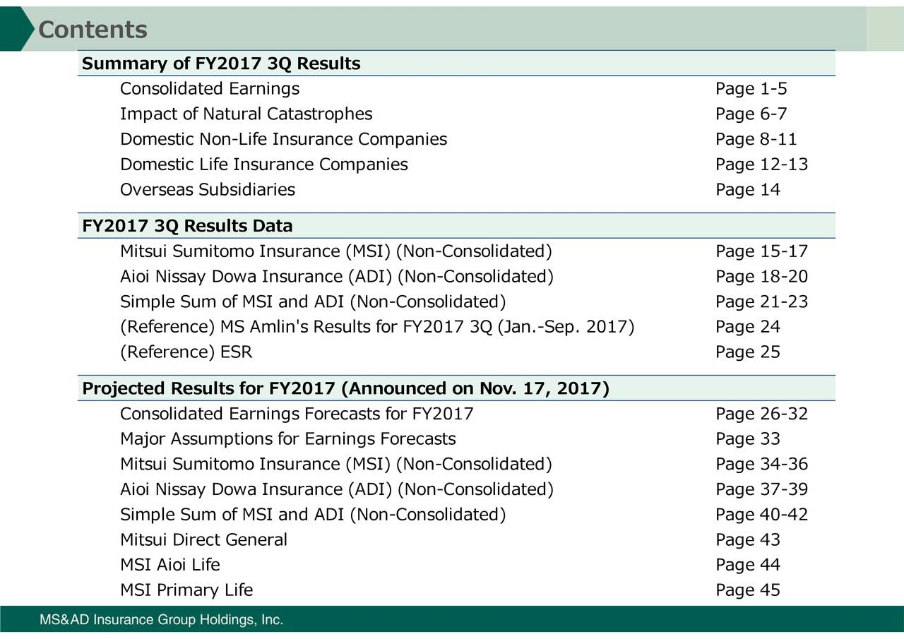 ConImoiactodtvatoegiCSAInsdiRic(Reference) ESRMsiSN(p)nySns-Ioatfia Summary of FY2017 FY2017 3Q Results Datajected Results for FY2017 (Announced on Nov. 17, 2017) Contents