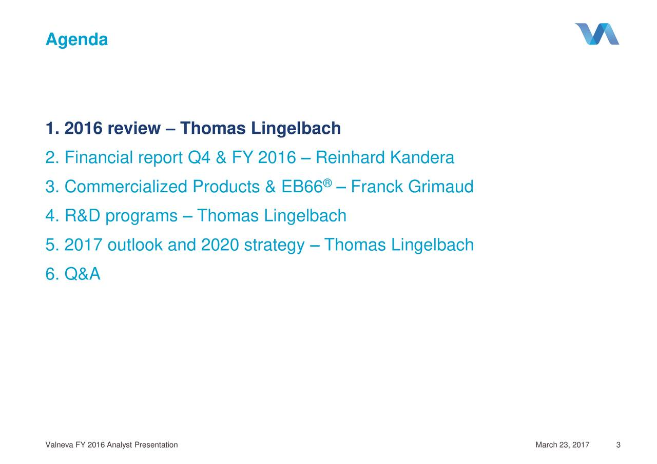 1. 2016 review  Thomas Lingelbach 2. Financial report Q4 & FY 2016  Reinhard Kandera 3. Commercialized Products & EB66  Franck Grimaud 4. R&D programs  Thomas Lingelbach 5. 2017 outlook and 2020 strategy  Thomas Lingelbach 6. Q&A Valneva FY 2016 Analyst Presentation March 23, 2317