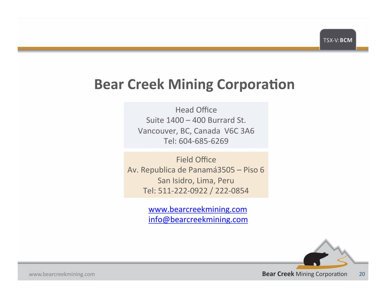 Bear creek mining corporation peru