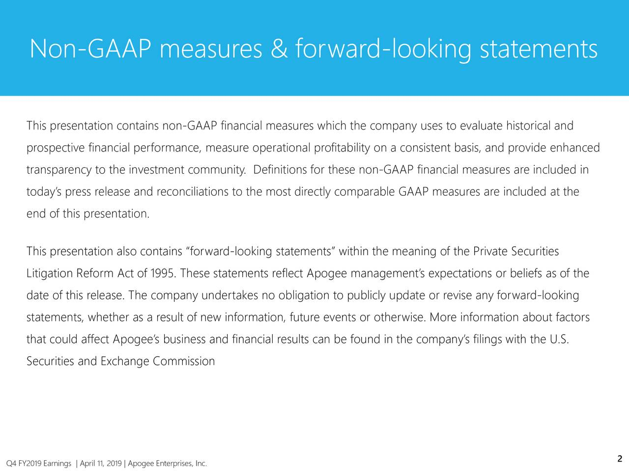 Non-GAAP measures & forward-looking statements