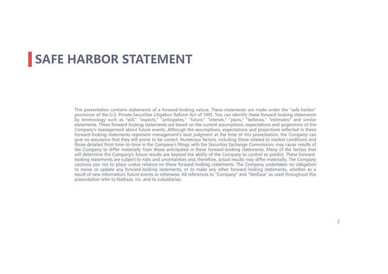 """.Theseforward- rward-looking statements, whether as a ectime of this prnts. The Company undertakes no obligation luding those related to market conditions andthat e statements are made under the """"safe harbor""""s of the ou can identify these f, actual results may differ materially. The Companyis ends,"""" """"plans,"""" """"believes,"""" """"estimates"""" and similar ' filings with the Securities Exchange Commission, may cause results of s future results are beyond the ability of the Company to control or predict ' Thisrbrsiertftrnts.T-ledPiirls""""rfilaritntrfwolwtred-ltfaregmncne'fthe""""a.uurepstnaco,txpncrward-ecestto""""ther fo SAFE HARBOR STATEMENT"""