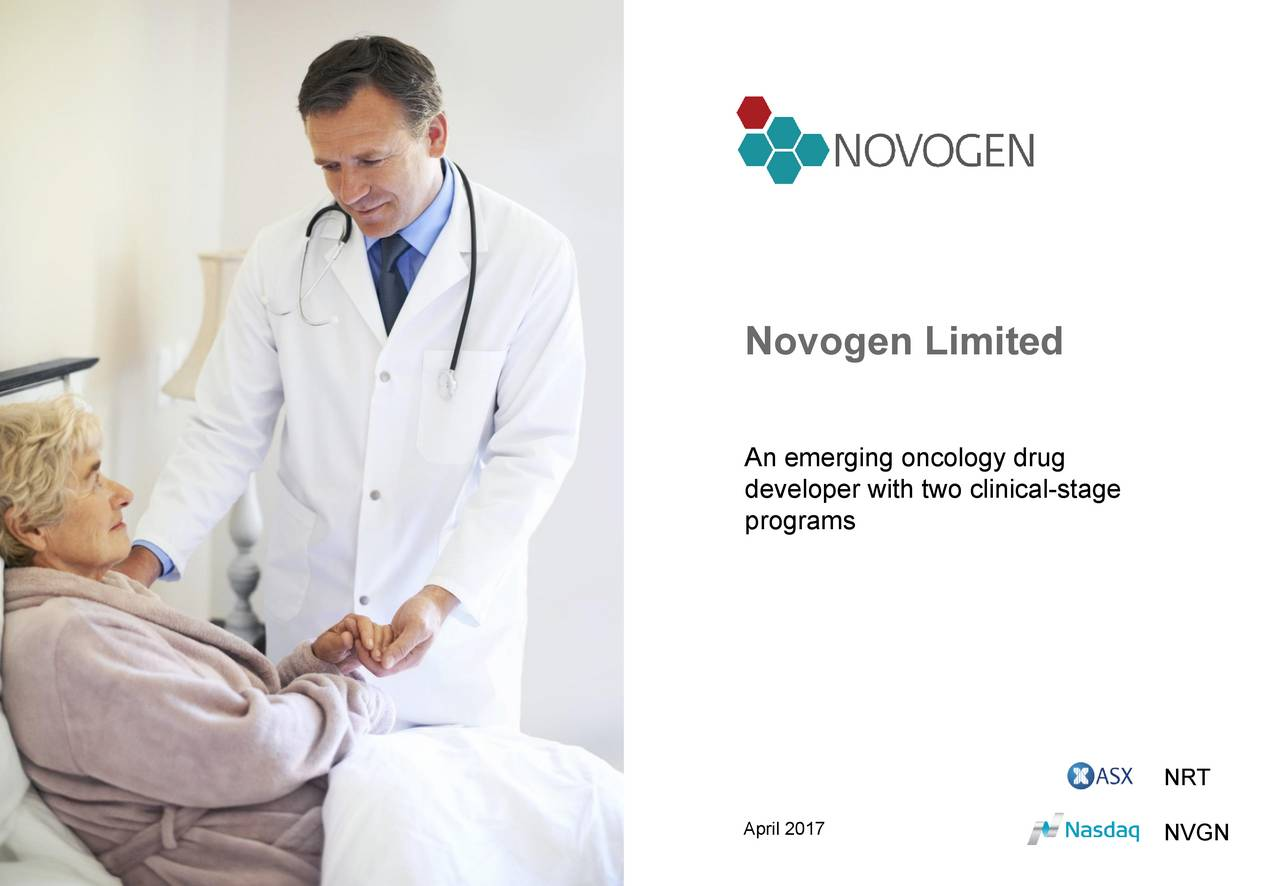 An emerging oncology drug developer with two clinical-stage programs NRT April 2017 NVGN
