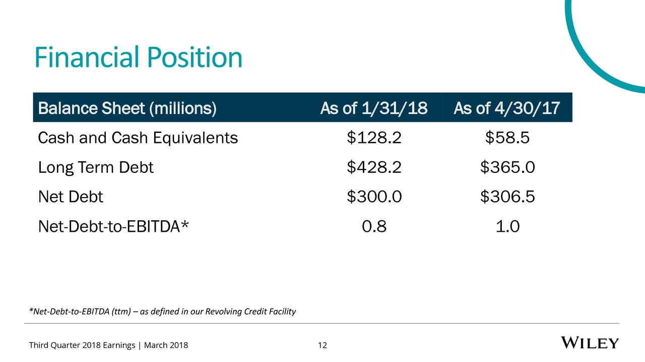 john wiley & sons, inc. 2018 q3 - results - earnings call slides