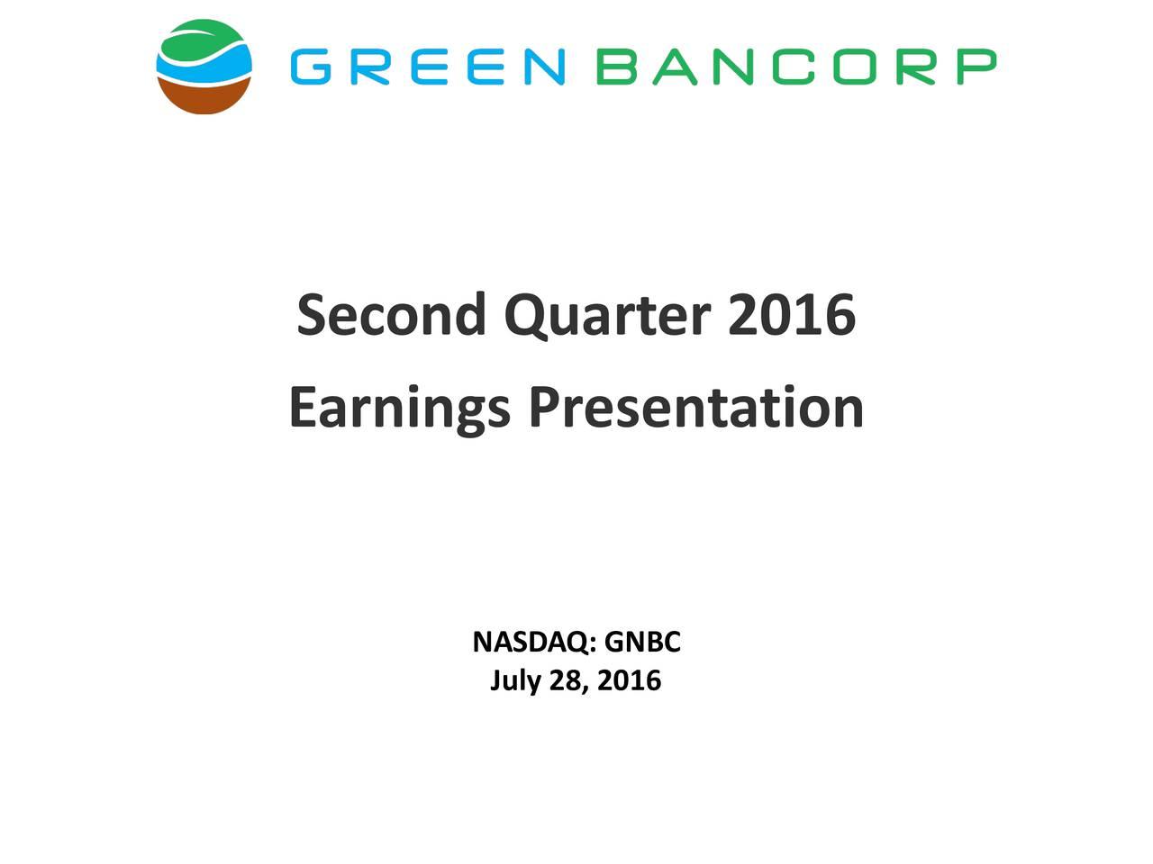 Earnings Presentation NJuly 28, 2016