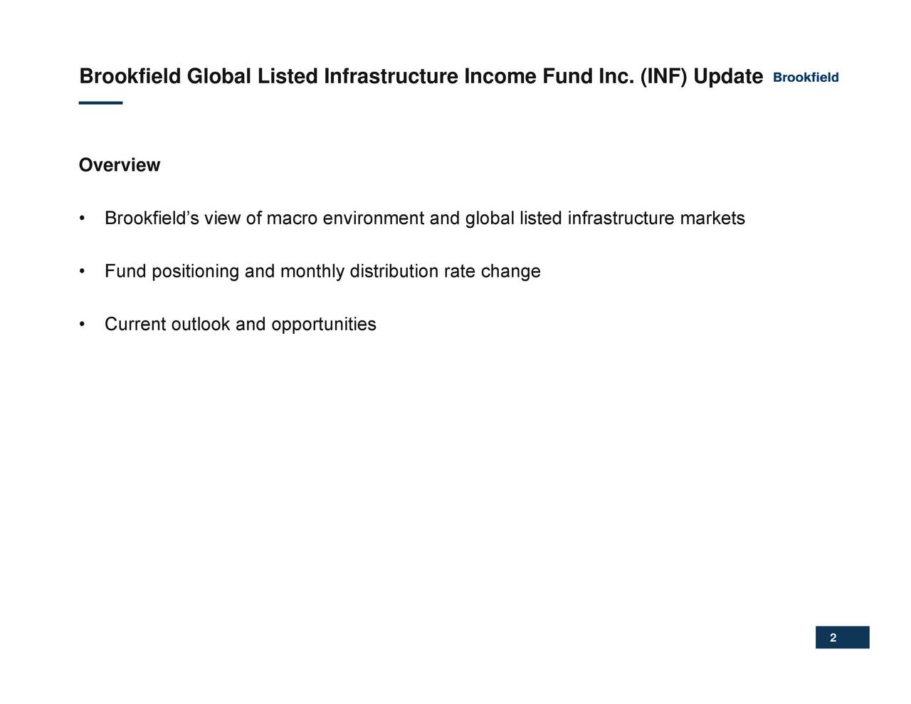 and global listed infrastructure markets Brookfield Overvi ewBrokfFundd Cositonioguanodkaondtoypdirtrbitisn rate change