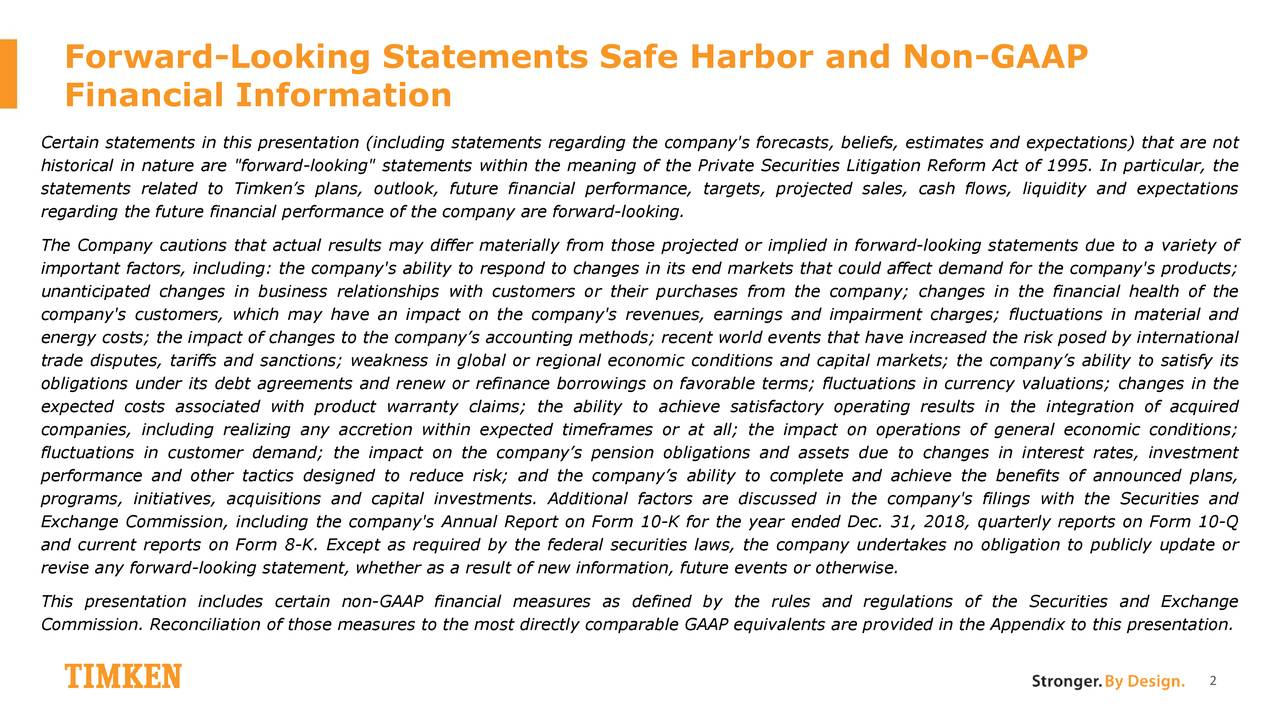 Forward-Looking Statements Safe Harbor and Non-GAAP