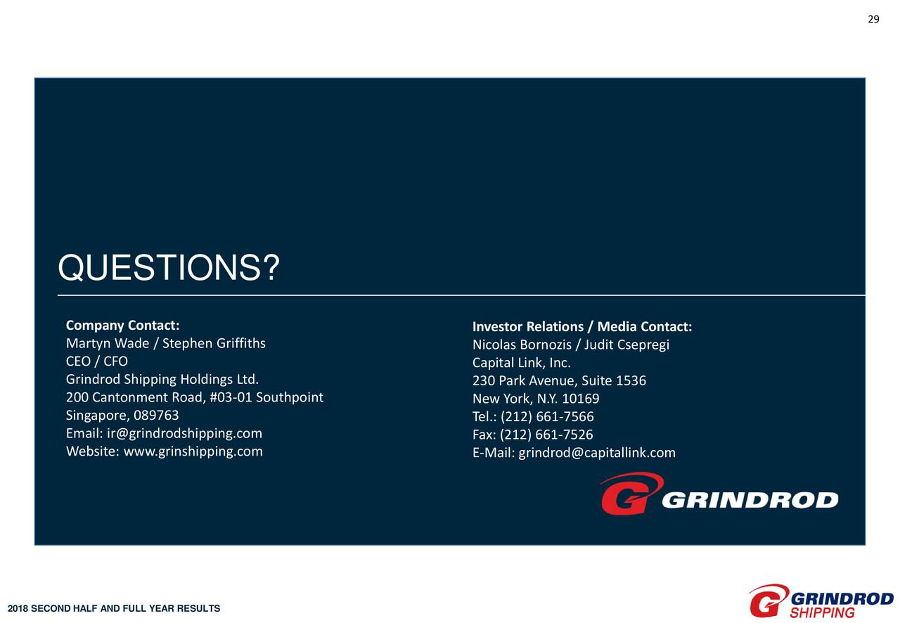 Grindrod Shipping Holdings Ltd  2018 Q4 - Results - Earnings Call