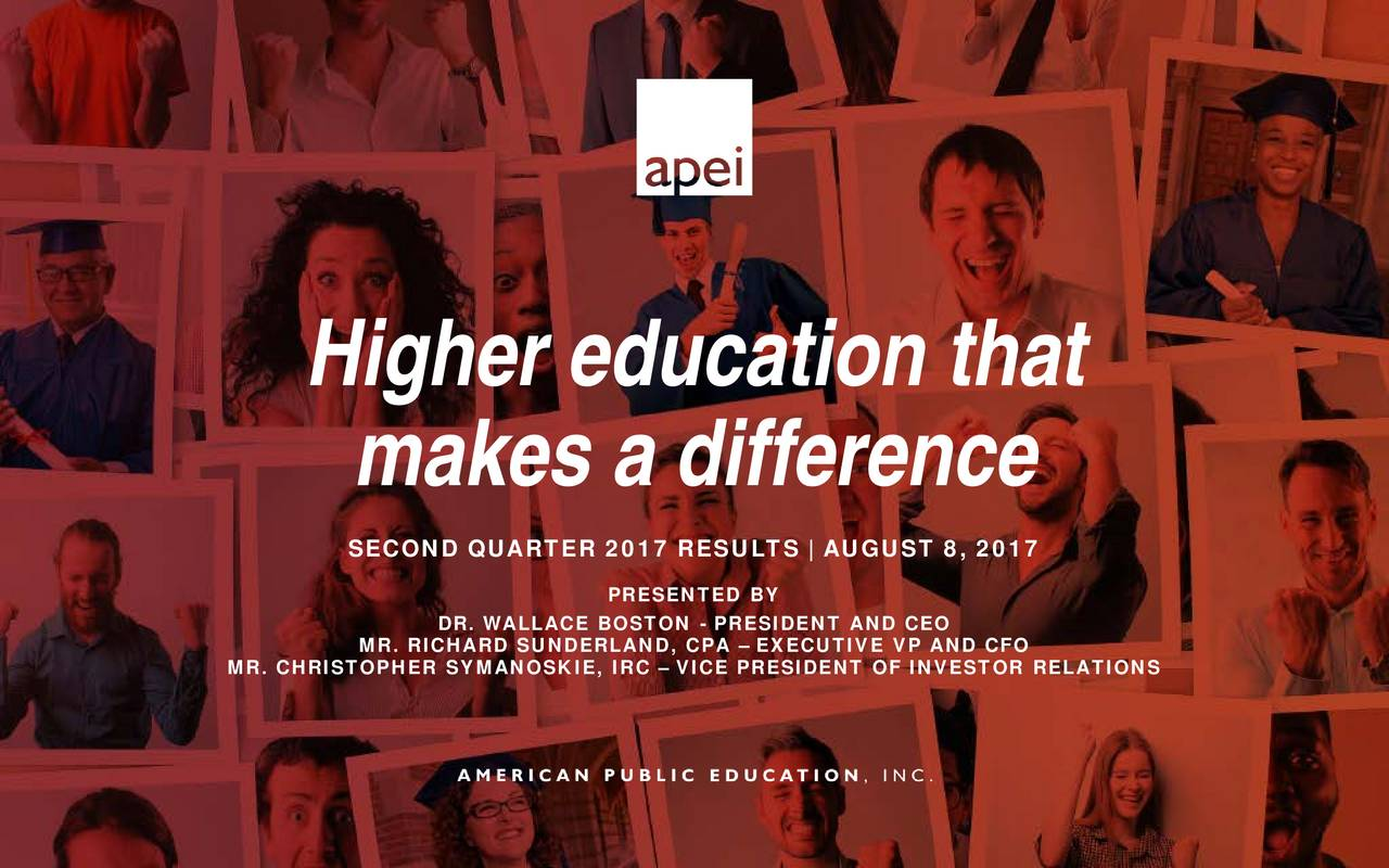 makes a difference SECOND QUARTER 2017 RESULTS | AUGUST 8, 2017 PRESENTED BY DR. WALLACE BOSTON - PRESIDENT AND CEO MR. CHRISTOPHER SYMANOSK VICE PRESIDENT OF INVESTOR REL ATIONS