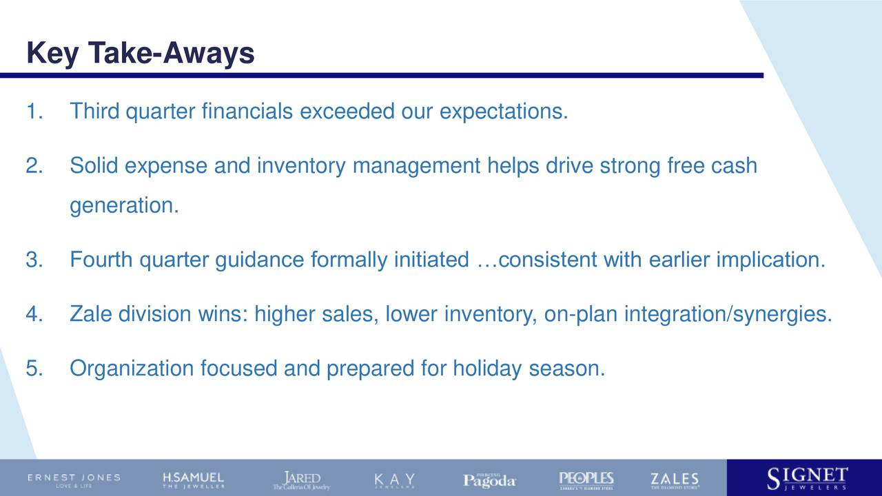 1. Third quarter financials exceeded our expectations. 2. Solid expense and inventory management helps drive strong free cash generation. 3. Fourth quarter guidance formally initiated consistent with earlier implication. 4. Zale division wins: higher sales, lower inventory, on-plan integration/synergies. 5. Organization focused and prepared for holiday season.