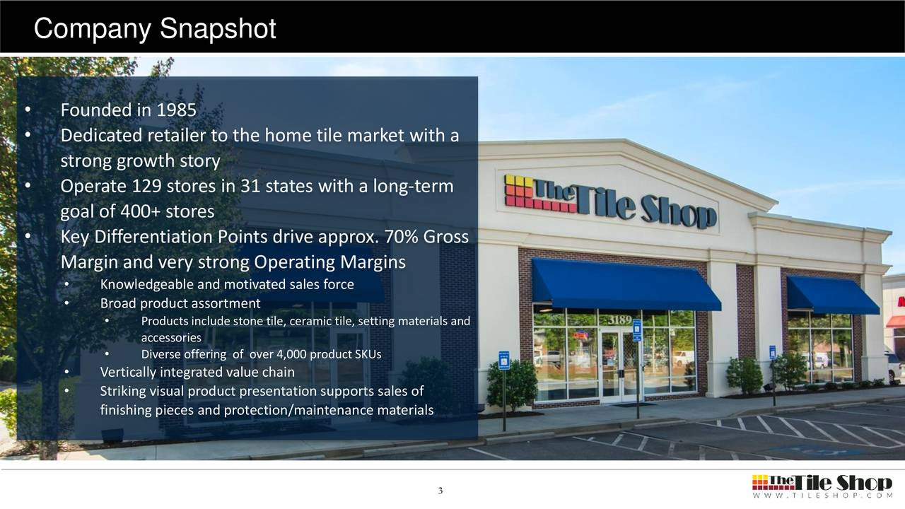 Founded in 1985 Dedicated retailer to the home tile market with a strong growth story Operate 129 stores in 31 states with a long-term goal of 400+ stores Key Differentiation Points drive approx. 70% Gross Margin and very strong Operating Margins Knowledgeable and motivated sales force Broad product assortment Products include stone tile, ceramic tile, setting materials and accessories Diverse offering of over 4,000 product SKUs Vertically integrated value chain Striking visual product presentation supports sales of finishing pieces and protection/maintenance materials 3