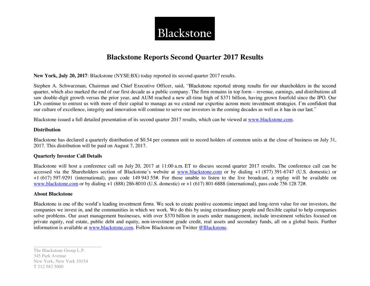 New York, July 20, 2017: Blackstone (NYSE:BX) today reported its second quarter 2017 results. Stephen A. Schwarzman, Chairman and Chief Executive Officer, said, Blackstone reported strong results for our shareholders in the second quarter, which also marked the end of our first decade as a public company. The firm remains in top form  revenue, earnings, and distributions all saw double-digit growth versus the prior year, and AUM reached a new all-time high of $371 billion, having grown fourfold since the IPO. Our LPs continue to entrust us with more of their capital to manage as we extend our expertise across more investment strategies. Im confident that our culture of excellence, integrity and innovation will continue to serve our investors in the coming decades as well as it has in our last. Blackstone issued a full detailed presentation of its second quarter 2017 results, which can be viewed at www.bckstone.com. Distribution Blackstone has declared a quarterly distribution of $0.54 per common unit to record holders of common units at the close of business on July 31, 2017. This distribution will be paid on August 7, 2017. Quarterly Investor Call Details Blackstone will host a conference call on July 20, 2017 at 11:00 a.m. ET to discuss second quarter 2017 results. The conference call can be accessed via the Shareholders section of Blackstones website at www.blackstone.com or by dialing +1 (877) 391-6747 (U.S. domestic) or +1 (617) 597-9291 (international), pass code 149 943 55#. For those unable to listen to the live broadcast, a replay will be available on www.blackstone.com or by dialing +1 (888) 286-8010 (U.S. domestic) or +1 (617) 801-6888 (international), pass code 756 128 72#. About Blackstone Blackstone is one of the worlds leading investment firms. We seek to create positive economic impact and long-term value for our investors, the companies we invest in, and the communities in which we work. We do this by using extraordinary people and flexible capital 