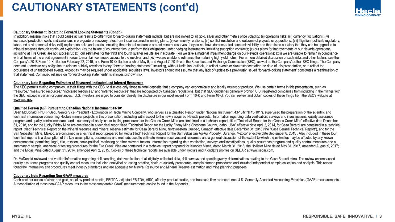 CAUTIONARY STATEMENTS (cont'd)