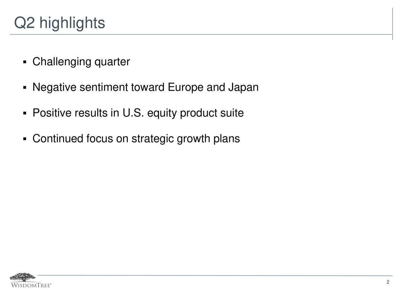 Challenging quarter Negative sentiment toward Europe and Japan Positive results in U.S. equity product suite Continued focus on strategic growth plans 2