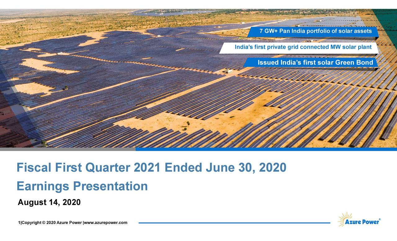 Azure Power Global Limited 2021 Q1 - Results - Earnings Call Presentation (NYSE:AZRE)