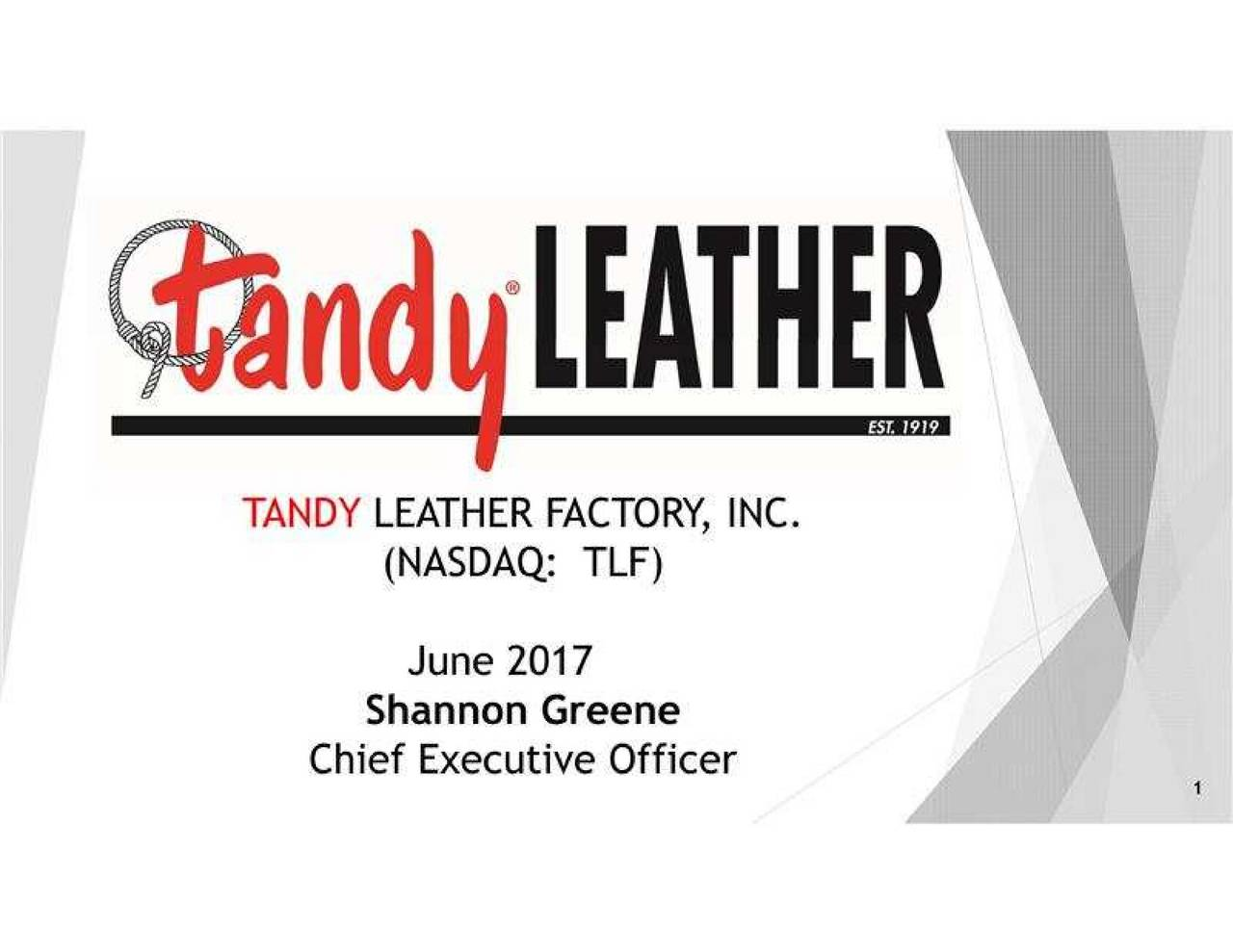 Tandy leather factory - Tandy Leather Factory Tlf Presents At 7th Annual Ld Micro Invitational Conference Slideshow