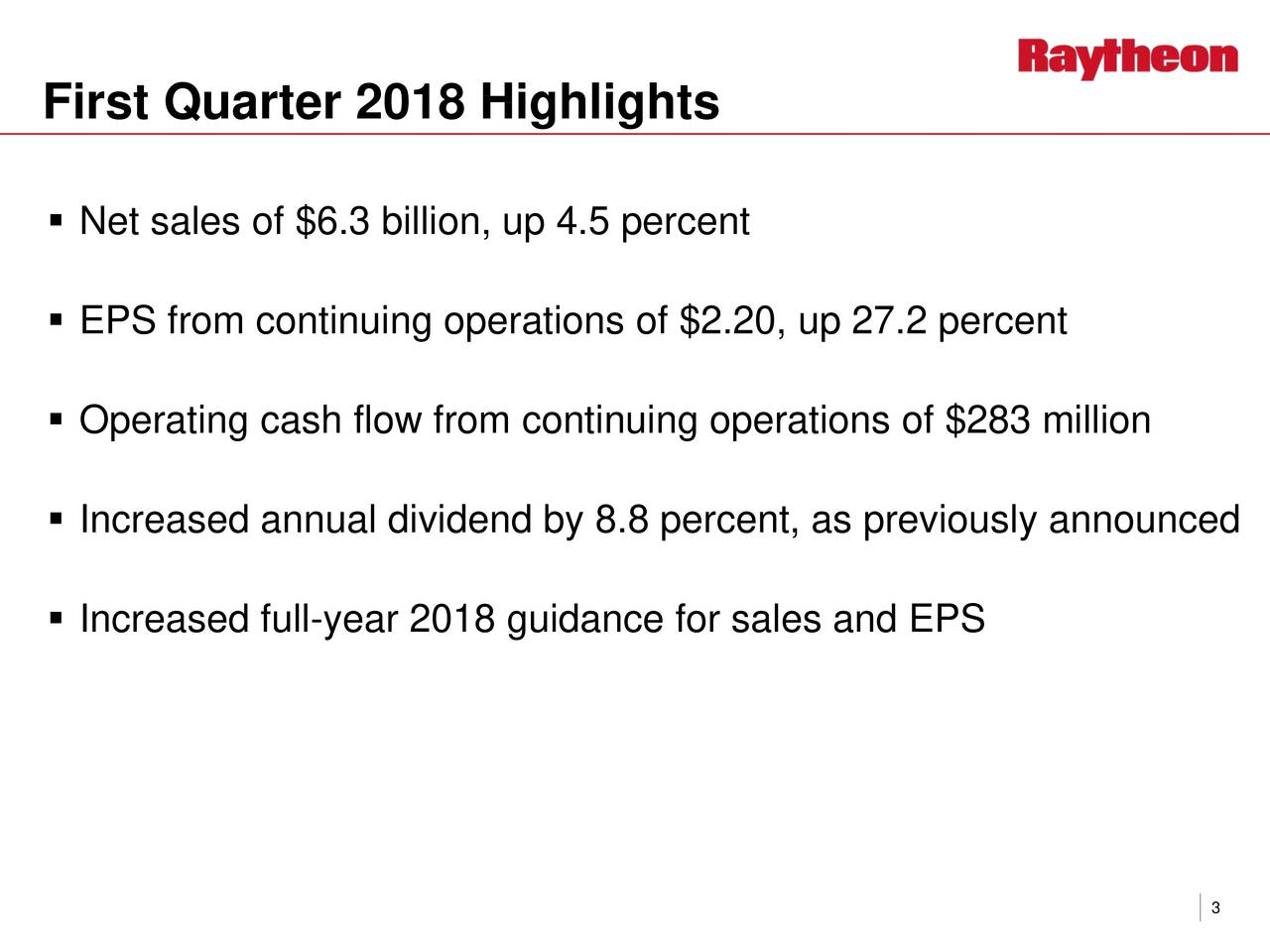  Net sales of $6.3 billion, up 4.5 percent  EPS from continuing operations of $2.20, up 27.2 percent  Operating cash flow from continuing operations of $283 million  Increased annual dividend by 8.8 percent, as previously announced  Increased full-year 2018 guidance for sales and EPS 3