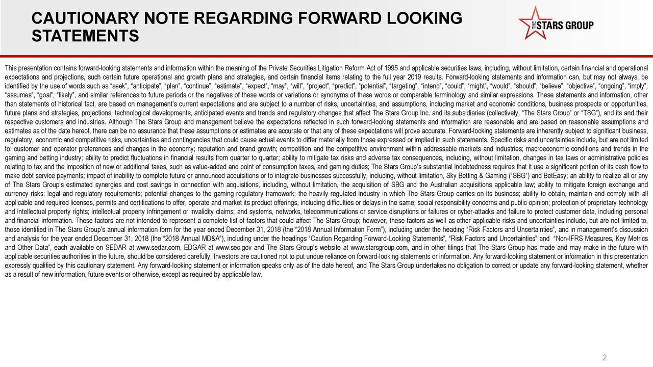 CAUTIONARY NOTE REGARDING FORWARD LOOKING