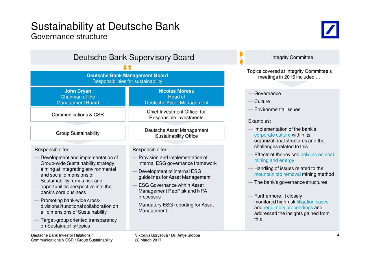 Deutsche Bank AG (DB) Presents At Berenberg SRI Conference ...