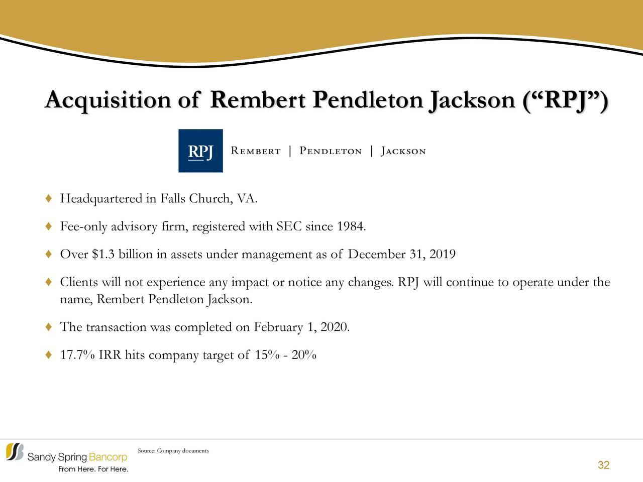 Adquisición de Rembert Pendleton Jackson (